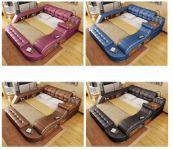 Moderní bílá kožená postel King Letiště Masážní