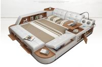 Moderní bílá kožená postel King Letiště